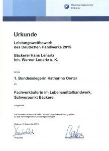 Urkunde Bundessiegerin